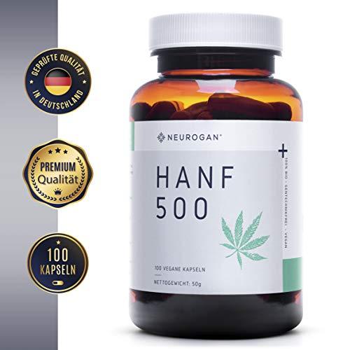 NEUROGAN´s 500 MG vegane Hanf-Kapseln, 100 Stück/Proteinpulver voller Omega 3, 6 & 9 / geschmacklose Hanfpulver-Kapseln/Hanfprotein voller Mineralstoffe & Vitamine/für gesunden Schlaf/ohne THC - Schmerzmittel