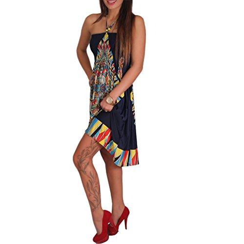 Neckholder Sommer Bandeau Kleid Holz-Perlen Damen Strandkleid Tuchkleid Tuch Aztec 39 Dunkelblau