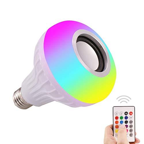 Smart Music Light Bulb Led Colorful Speaker Bulb E27 Control remoto inalámbrico Bombilla de audio 12W 220V RGB Bombilla Luz Reproductor de música - Blanco