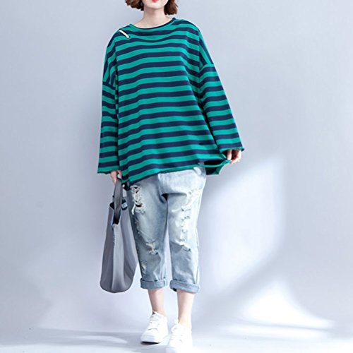 Zhhlaixing Fashion Style Femme Spring Stripes Hole Long Sleeved T-Shirt Pullover Large Loose Chandail Clothing green