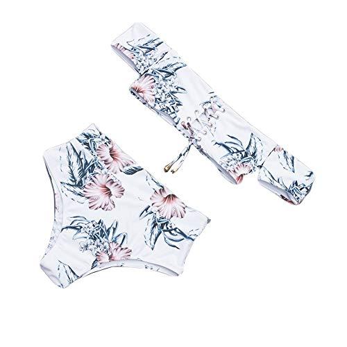 QingJiu Fahion Bikini-BH-Badeanzug-Verband Badebekleidung Beachwear Off-Shouder Bikini(Weiß,Large)