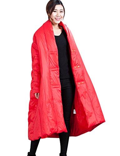 Youlee Femmes Hiver Couvert Bouton Manteau de duvet Rouge