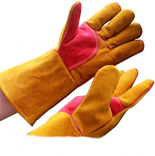 CJJ Schweiöszlig;Handschuhe aus Leder, verschleiöszlig;Feste, Dicke Handschuhe, föuuml;r Gartenarbeit, Angeln, BAU und Restaurierung, Rosendornen, Kaktushandling