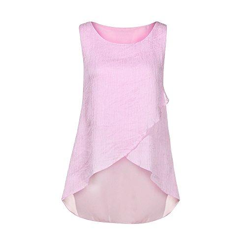 OverDose Damen Sommer Ärmellos O-Ausschnitt Casual Chiffon Solide Weste Bluse Tank Tops Camis Frauen T Shirt Tees (EU-46/CN-L, X-Rosa)
