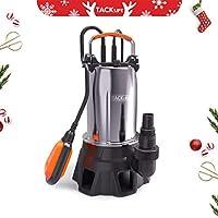 TACKLIFE Pompe pour Eaux, Pompe Vide-Cave Submersible 1000W en Acier Inoxydable pour Eaux Chargées, Max. 20000 l/h, 9m Hauteur de Refoulement, 7m Profondeur d'immersion, Max. 35mm Granule GSUP2C