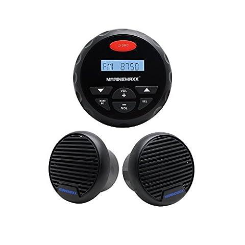 10,2cm Jauge étanche radio Marine AM FM stéréo audio Sound System Bluetooth MP3Sound System pour bateau ATV Moto radio FM AM + 7,6cm étanche Noir haut-parleurs