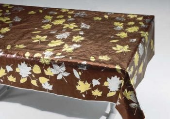 Creative Converting Thanksgiving Fall Leaves Metallic Banquet Table Cover, Chocolate with Gold and Silver