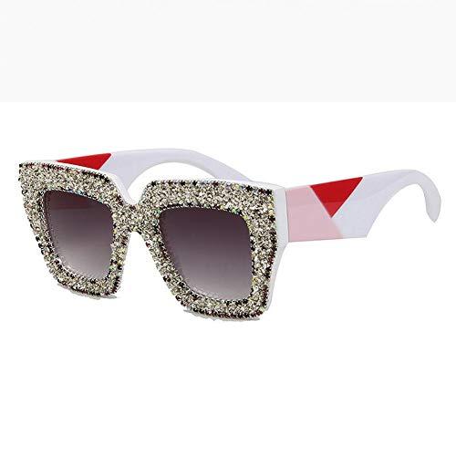 SYQA Sonnenbrille Sonnenbrille Frauen Dicken Rahmen Kleine Kies Strass Sonnenbrille Farbe Nähen Beine Vintage Shades,C2