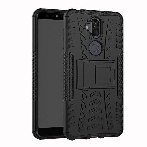 Coque ASUS Zenfone 5 lite/5Q ZC600KL 360 degrés Protection Bumper+Film Verre Trempé 2 Pièce,Béquille Cover Etui Silicone Housse Antichoc Skin Cases pour ASUS Zenfone 5 lite/5Q ZC600KL- Noir