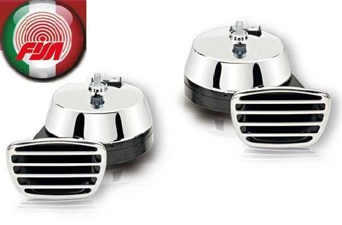 Preisvergleich Produktbild Fanfare Zweiklang Elektro chrom 112 dB Markenware FISA zugelassen !