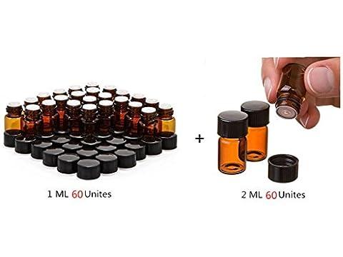 Elufly 60Lot 1/4DRAM Ambre bouteilles en verre + 60Lot 2ml (5/8DRAM) Verre Ambre bouteilles d'huiles essentielles