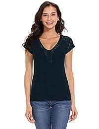 f9fb96d78dd80b ISASSY Damen T Shirt Oberteile Mit Spitze Kurzarm Tops V-Ausschnitt Bluse