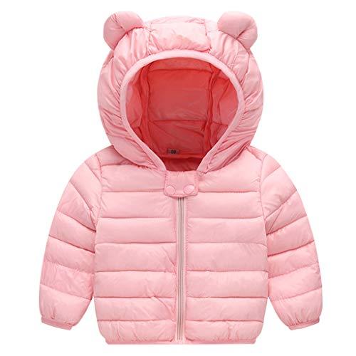 Bebé Chaqueta Invierno Abrigo con Capucha Ligero Trajes Ropa de Calle Acolchado Rosa 6-12 Meses
