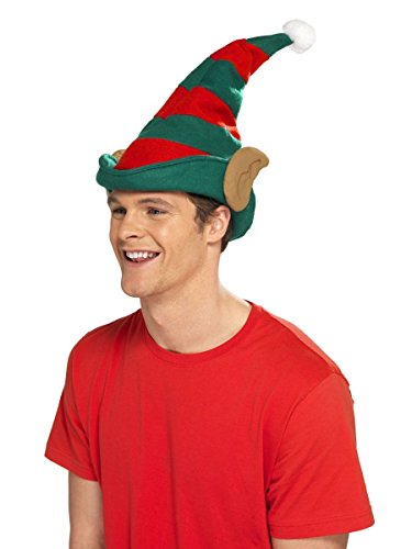 Smiffys Kostüm Zubehör Weihnachtself Mütze rot-grün mit Ohren ()