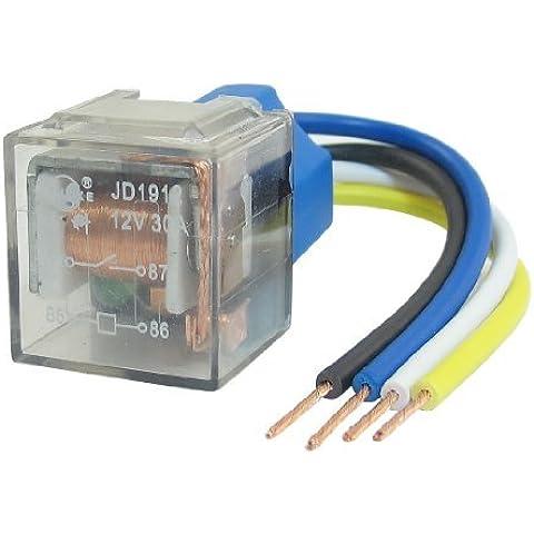 SPST 15mm alarma del coche Rail Relay Socket 4 Pin 4 del cable de alambre 30A 12V DC JD2912