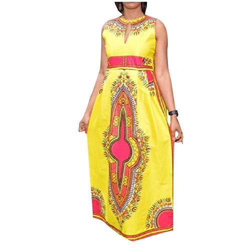 Traditionelle Dashiki (Andopa Damen dashiki afrikanischen stil traditionell knöchel-längen-kleid elegent XS Gelb)