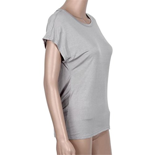 Vovotrade ❤❤Heiß !!!Frauen loses Fledermaus Hülsen Backless T-Shirt Feder O-Ausschnitt Grau