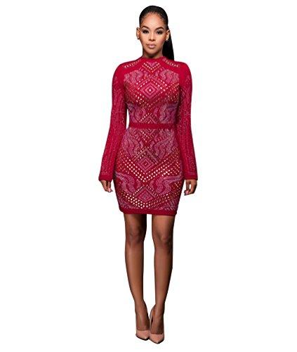CHENGYANG Femme Élégant Robe Crayon de Style Cocktail Manche Longue Bodycon pour Soirées Clubwear Rouge