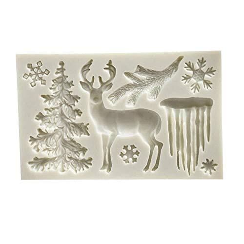 Eis Rod Mold Eis am Stiel Formen rechteckige grau weiße Silikon Weihnachtsbaum Elch Schneeflocke Eiszapfen Fondantform