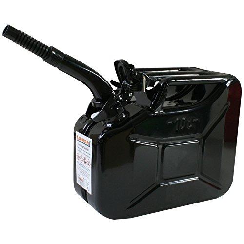 Stahlblechkanister schwarz 10 Liter + Auslaufrohr flexibel Benzinkanister Kanister