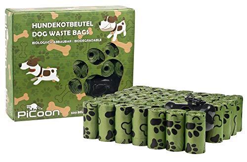 PiCoon Bio - Hundekotbeutel, 600 Stück, mit Beutelspender und Leinenclip, OXO biologisch abbaubar, ökologisch, umweltfreundlich