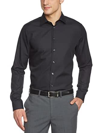 Arrow Herren Businesshemd Slim Fit 010001/39 Madison NOS Kent 1/1 W102, Gr. 38, Schwarz (39)