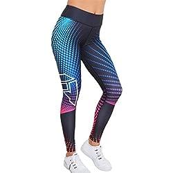 Pantalones Yoga Mujeres, ❤️Xinantime leggings mujer deporte pantalones elásticos de yoga de impresión en 3D (M, ❤️Multicolor)