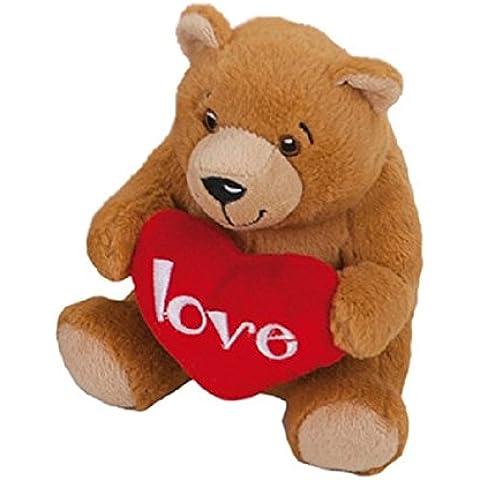 Peluche Oso marrón con un corazón rojo Love 18cm super suave