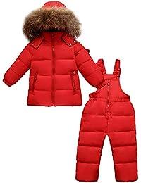 Zoerea Kinder Bekleidungsset Junge Mädchen Süß Schneeanzug mit Kaputze Daunenjacke + Daunenhose 2tlg Verdickte Skianzug Winterjacke
