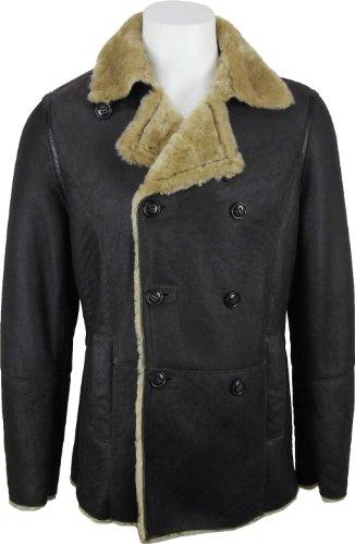 UNICORN Männer Echte Leder Jacke - Schafspelz Mantel - Zweireiher - Braun #DD - Größe 46