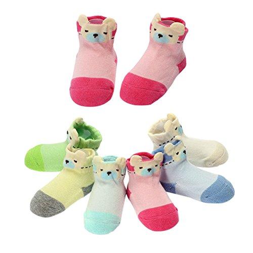 Meijunter2 Pairs Baby Kids Girls Boys Bear Pattern Anti-Slip Newborn Toddler Floor Socks