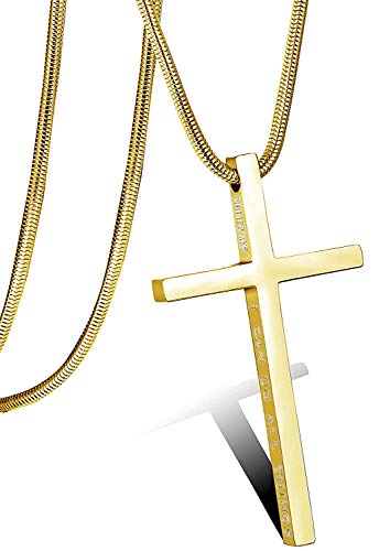 Besteel Acero Inoxidable Collar Cruz para Hombre Mujer Cadena Serpiente con Colgante Cruz Collar Religioso, 61CM Oro-Tone