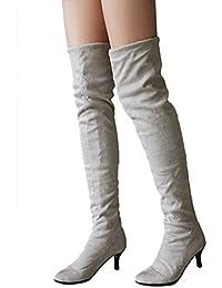 Minetom Mujer Invierno Overknee Botas Gamuza Pointed Toe Zapatos Largo Botas Moda Muslo Alto Botas