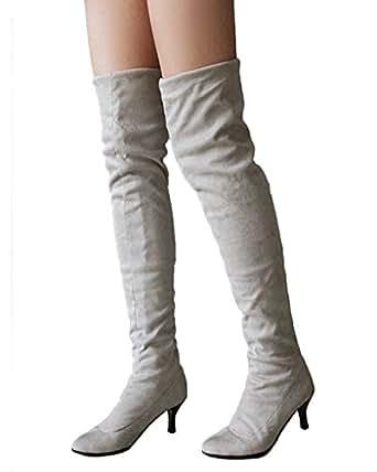 Minetom Donna Inverno Overknee Stivali Scamosciato Scarpe Scarpe a punta Lungo Stivali Moda Coscia Alto Stivali Grigio EU 34