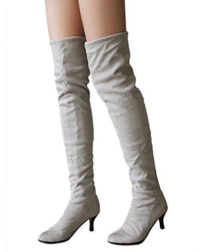 Minetom Damen Winter Overknee Stiefel Wildleder Hoher Absatz Schuhe Lange Stiefel Mode Schenkel Hohe Stiefel Grau EU 38