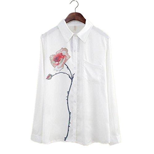 RETUROM Las mujeres del nuevo del estilo del otoño de manga larga blusa de la flor de Rose gira el collar abajo Gasa (L)