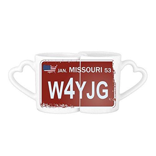 DIYthinker Usa American Car License Plate Nummer Missouri Kreative Illustration Muster-Liebhaber Becher-Liebhaber Tassen Set weiße Keramik Keramik-Cup Mehrfarbig (Plate License Missouri)