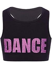 ranrann Tank Top de Yoga Danza para Niñas Chaleco Corto de Baile Moderno Estampado de Letra Sujetador Deportivo de Running Fitness Top Deportivo Niña