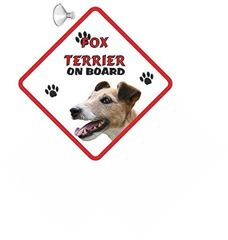 Fox Terrier à poils (fil) à suspendre pour chien signe de voiture avec ventouse en caoutchouc 111