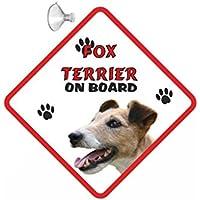 Placa de perro Fox Terrier a bordo, para el coche, en forma de señal y con ventosa (111)