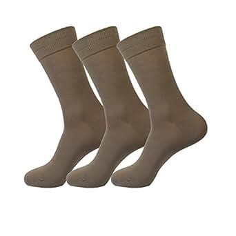 Jasmine Silk 3 Pairs Supersoft Mens 100% Bamboo Socks Thermal Sock 7-11 (Beige)