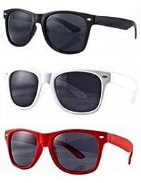 Lot de 3 paires de lunettes de soleil style Wayfarer geek retro vintage 80's - Noir + Rouge + Blanc - Verre noir - Fashion tendance
