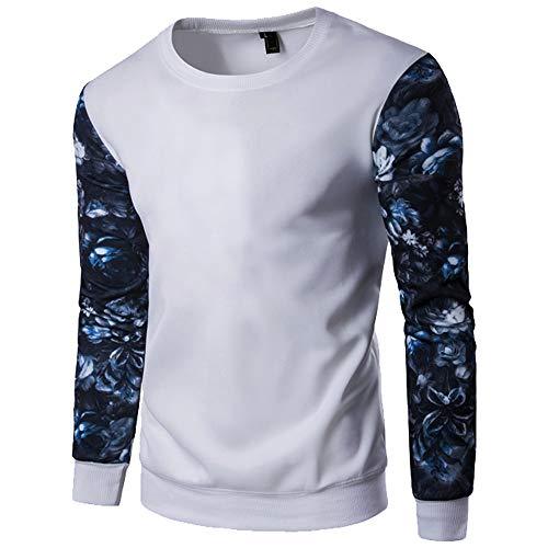 Xmiral Herren Sweatshirt Schlank Langarm Gedruckt Nähte Farbe Bodenbildung Pullover (M,Weiß)