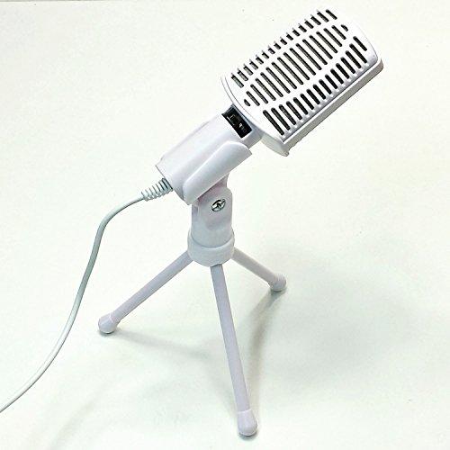 mit Stativ und Schalter weiß Microphone Microfon Mikrophon ()
