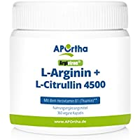 APOrtha Argiviron | L-Arginin + L-Citrullin 4500 hochdosiert + Herzvitamin Vitamin B1 |360 vegane Kapseln preisvergleich bei fajdalomcsillapitas.eu