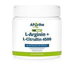 APOrtha Argiviron | L-Arginin + L-Citrullin 4500 hochdosiert + Herzvitamin Vitamin B1 |360 vegane Kapseln