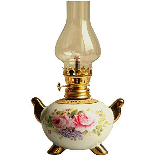 Antike Petroleumlampe Keramik Lampenkörper mit winddichtem Glasabdeckung Traditionelles Industrieöl Notlicht Retro Nostalgie Öl Lampe -
