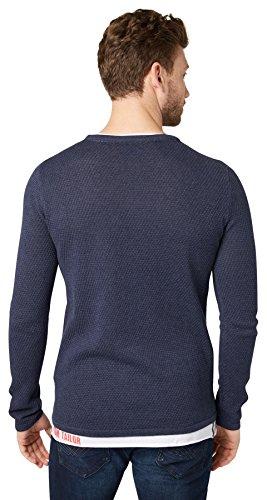 Tom Tailor für Männer knit Strickpullover mit Waffelstruktur Navy Melange