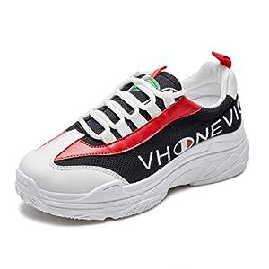Vansney Damen Chunky Dad Sneakers PU Leder und Mesh im Patchwork-Kontrast- und Mesh-Design für Wandern und Reisen Abriebfest Rutschsicher Atmungsaktiv Laufschuhe