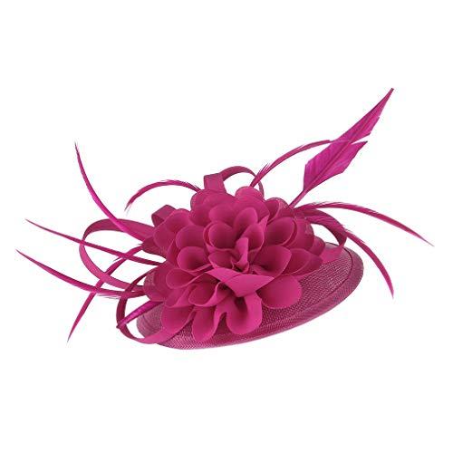 GEMVIE Tocados de Pelo Flores Mujer Fiesta Cóctel Vintage Sombrero Plumas Fucsia